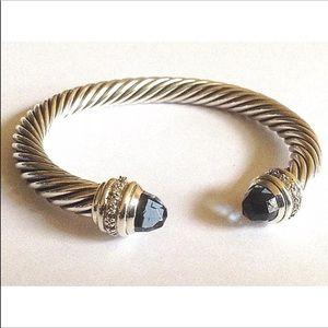 DY Hampton Blue & diamonds Bangle 7mm Cable